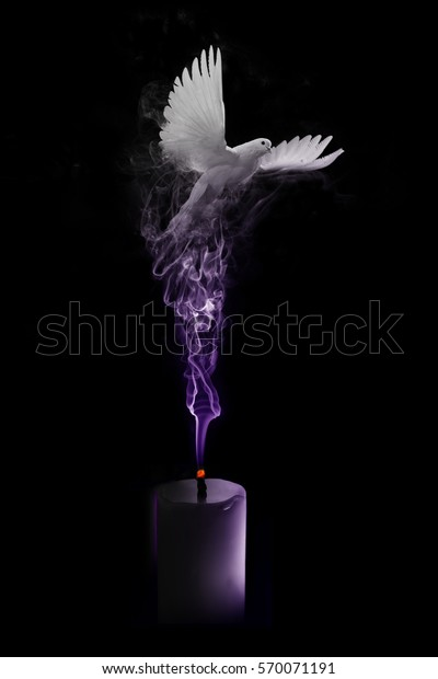 flying white dove coming out the purple smoke from a blown out candle, peaceful funeral card