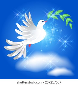 Flying white dove with green branch in the blue sparkling sky with  clouds