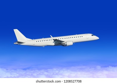 flying white passenger plane in blue sky