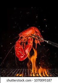 Flying whole lobster from grill grid, isolated on black background. Concept of flying food, very high resolution image
