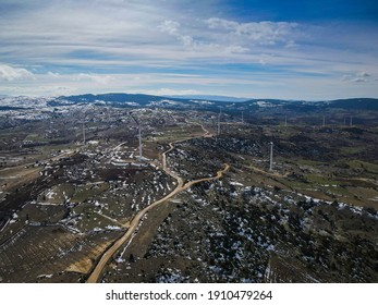 Flying with wind turbines in the scenery