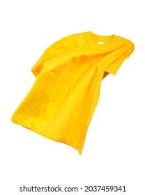 Flying yellow T-shirt on white background