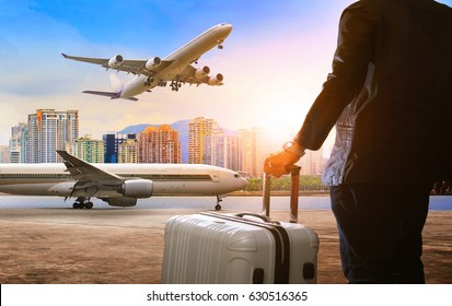 flying young man with traveling luggage bag happiness emotion isolate white background