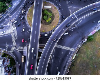 Flyover Road Aerial photography from drone camera