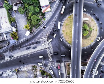Flyover Road Bird View Aerial photography from drone camera