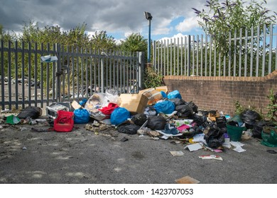 Fly-tipping in urban area, West Midlands, UK
