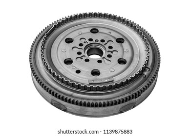 flywheel in car clutch kit on white background