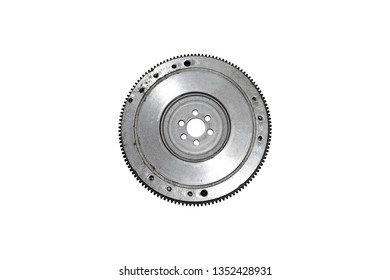 Flywheel damper for automotive engine on a white background.