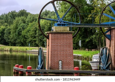 Flywheels of the drive of the ramp on the Elblag's Canal in Poland