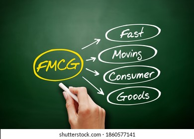 FMCG - Fast Moving Consumer Goods acronym, business concept on blackboard