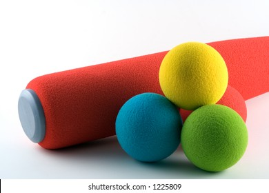 Foam bat and soft balls