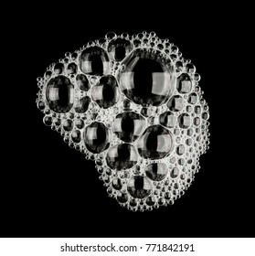 Foam  bubble from soap shampoo isolated on black background top view object design