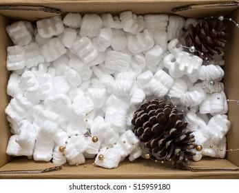 Foam cushioning shockproof a parcel fragile