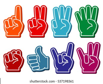 Foam fingers set. Gesture victory and souvenir accessory illustration.