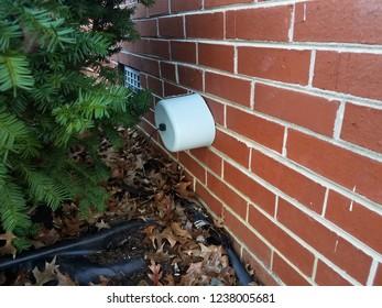 foam insulation on water spigot with brick wall