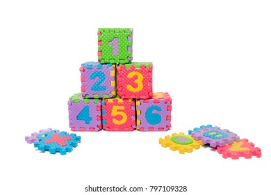 Foam puzzle numbers isolated on a white background.