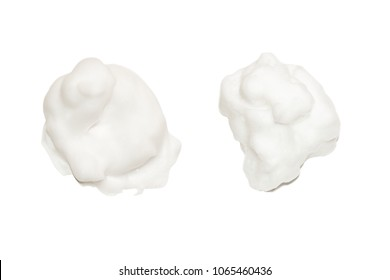 Foam soap cream set isolated on white background. Bath bubble texture, shave cream concept.