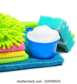 Foam, suds, sponge, microfibers, towels, napkins isolated on white