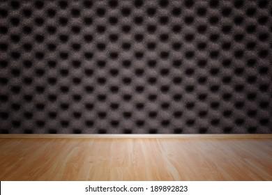 Foam texture wall and wooden floor