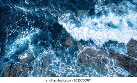 Foam waves Blue Ocean