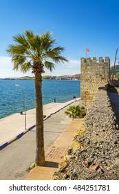 Foca, Turkey - May 05, 2015 : Foca Harbour view from castle. Foca is populer tourist destination in Turkey.