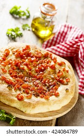 Focaccia bread with tomatoes and garlic