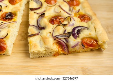 Focaccia with garlic and tomato