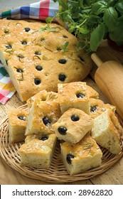 Focaccia, olive-bread