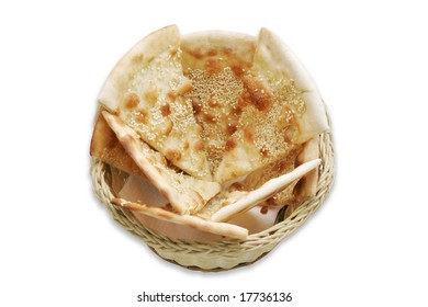 Focaccio - italian bread with sesame in basket