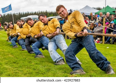 FOCHABERS, MORAY, SCOTLAND - 15 MAY: This is a view of a Tug Of War Sports Team in action at the Gordon Castle Highland Games at Fochabers, Moray, Scotland on 15 May 2016.