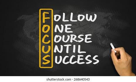 Focus acronym:follow one course until success handwritten on blackboard