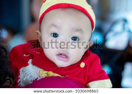 68a019985 Focus Cute Baby Boy Wear Red Stock Photo (Edit Now) 1030698865 ...