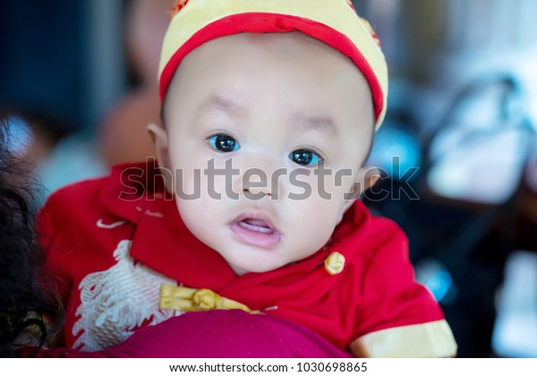 Focus Cute Baby Boy Wear Red People Stock Image 1030698865