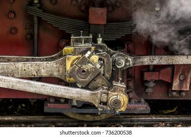 Focus detail Wheel Mechanism of the train old Steam locomotive