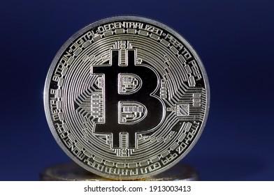 Focus of Front Silver bitcoin coin