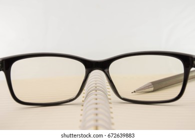 Focus glasses on the notebook