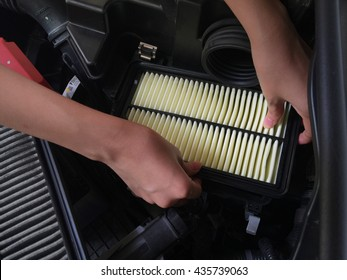 Focus of How to change a new car air filter, Put New Wet air filter on car engine