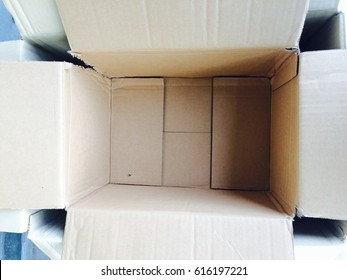 Focus inside cartons box with copy space