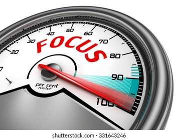 Focus level hundred per cent conceptual meter, isolated on white background