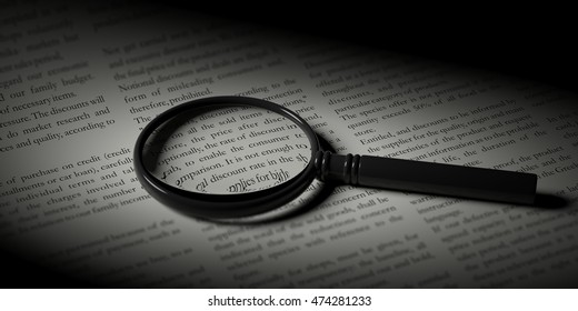 Focus in News. Magnifier glass on a newspaper. 3d illustration
