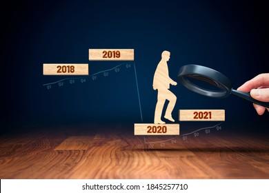 Konzentrieren Sie sich auf das Konzept des Unternehmens- und Wirtschaftswachstums in der Ära nach Covid-19. Finanzminister (Politiker) stimulieren die Wirtschaft für das BIP-Wachstum im Jahr 2021.