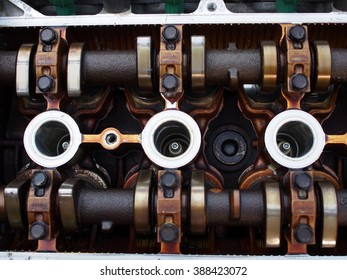 focus on engine parts, cylinders of the machine, garage, the place to repair and fix vehicle engine