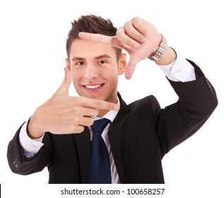 Focus on executive making frame with his hands on white background