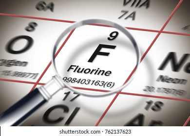 Focus on fluorine chemical element - element against tooth decay - concept image with a magnifying glass above the Mendeleev periodic table