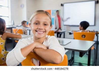 Focus on little child at school