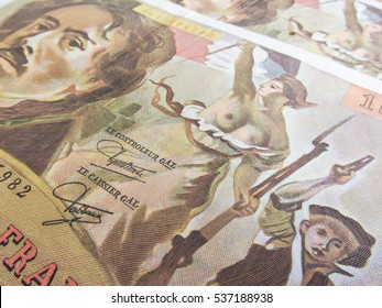 focus on Marianne over one hundred francs banknote