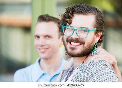 Focus on one member of gender fluid young male couple