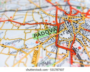 Focus on Padova city ( Italy ) over a road map