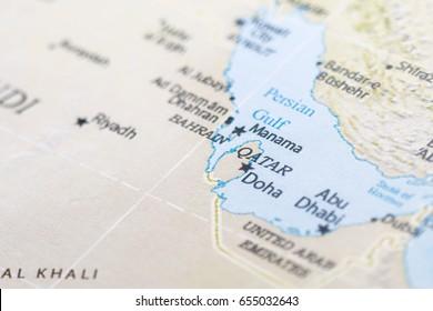 Focus on Qatar on map