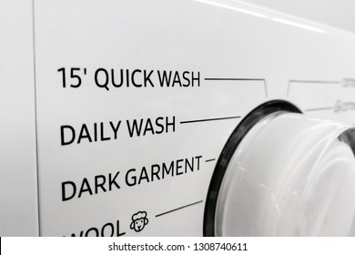 Focus on Quick Wash, Daily Wash, Dark Garment of washing machine program control dial